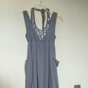 Cocktail Dress - halter, pockets, sequins, style!